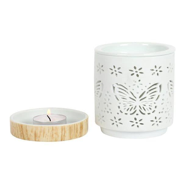 Matte Butterfly Oil Burner Wax Melts Tea Light Holder Ceramic Ornament Gift 12cm
